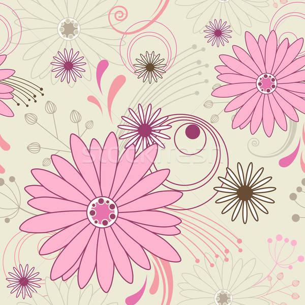 Végtelen minta vektor virágmintás rózsaszín virágok tavasz Stock fotó © Artspace