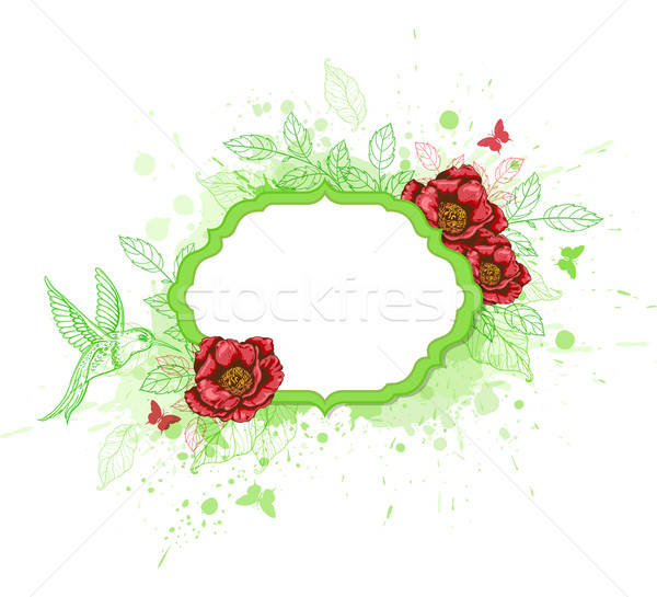 Green vector  banner with red peony Stock photo © Artspace