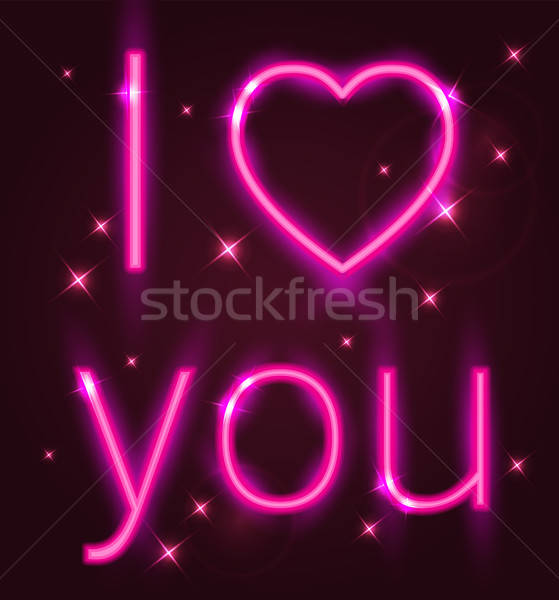 Pembe neon valentine tebrik kartı imzalamak Stok fotoğraf © Artspace