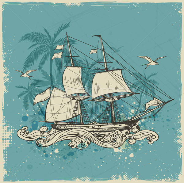 Vintage background with sailing vessel  Stock photo © Artspace