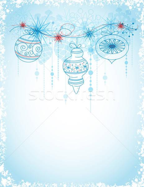 Karácsonyi üdvözlet díszítések kék vektor hópelyhek labda Stock fotó © Artspace