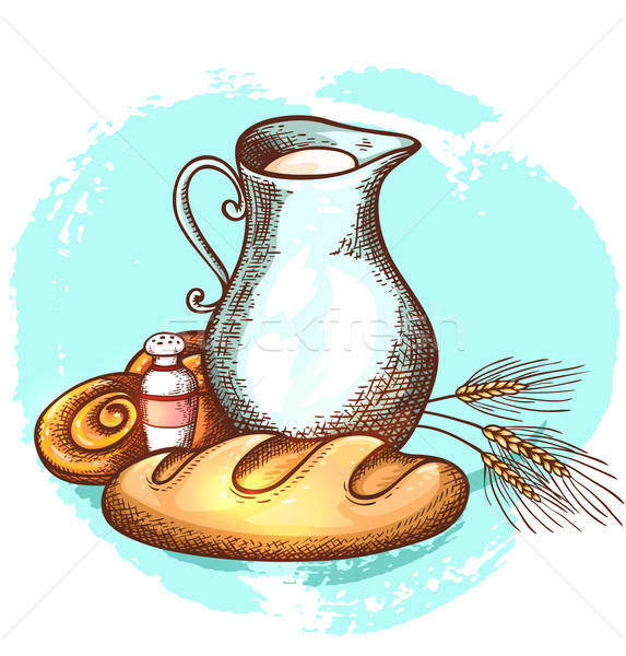 Jug of milk and fresh bread Stock photo © Artspace