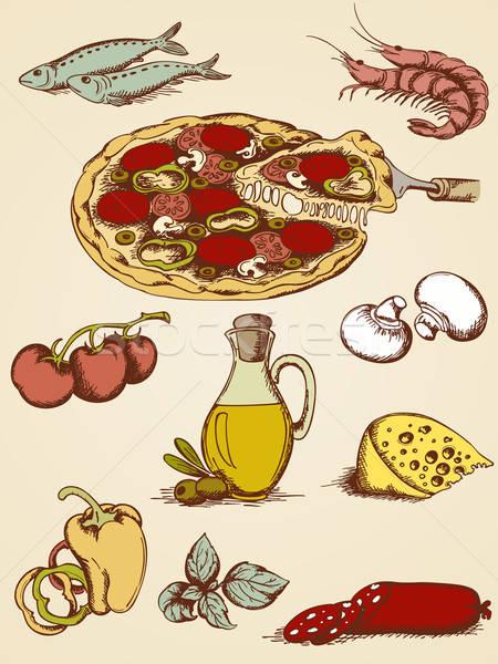 Kézzel rajzolt pizza szett vektor ikonok hal Stock fotó © Artspace