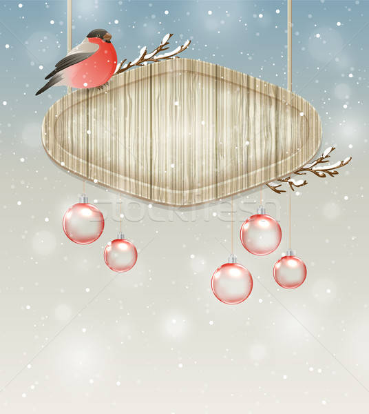 Bullfinch, decorations and wooden banner Stock photo © Artspace