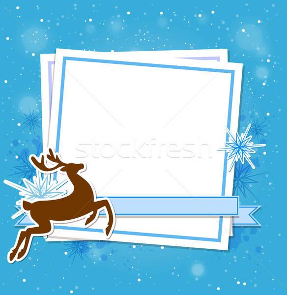Noël cerfs bleu blanche fiche papier Photo stock © Artspace
