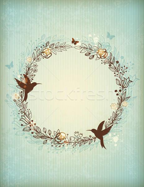 Stockfoto: Decoratief · vintage · krans · bloemen · bladeren