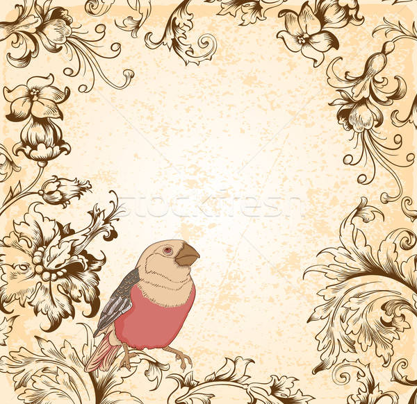Victorian floral  background with bird Stock photo © Artspace