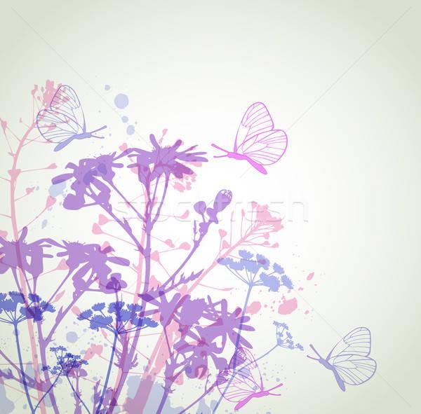 Foto stock: Abstrato · floral · vetor · flores · borboletas · flores · silvestres