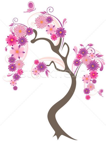 çiçekli ağaç kelebekler beyaz bahar doğa Stok fotoğraf © Artspace