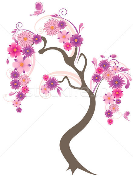 Bloei boom vlinders witte voorjaar natuur Stockfoto © Artspace