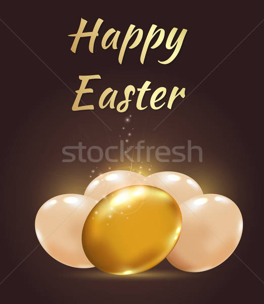 Easter background with golden eggs Stock photo © Artspace
