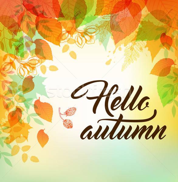 Najaar oranje groene bladeren vector groene vallen Stockfoto © Artspace
