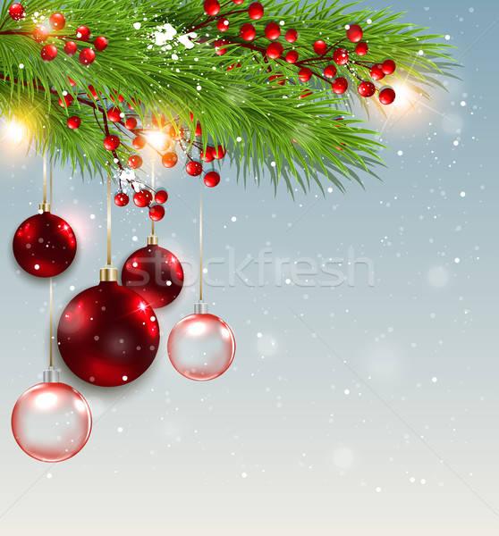 Stock fotó: Zöld · fenyő · ág · piros · díszítések · karácsony