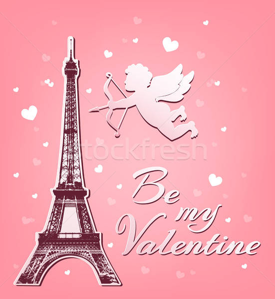Cupid and Eiffel Tower Stock photo © Artspace