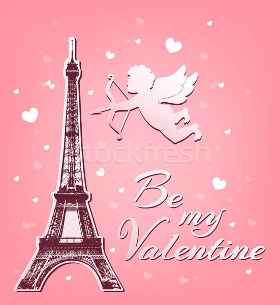 Eyfel Kulesi sevgililer günü tebrik kartı kâğıt pembe dizayn Stok fotoğraf © Artspace