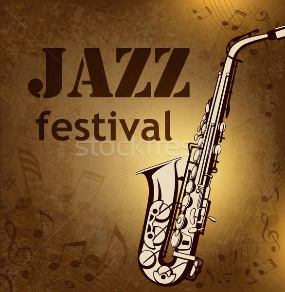 Klasszikus zene vektor hangjegyek szaxofon dzsessz Stock fotó © Artspace