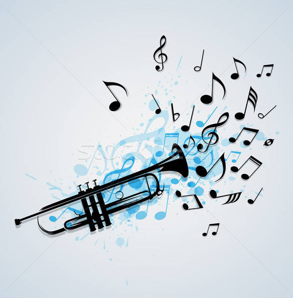 Müzik soyut trompet siyah notlar mavi Stok fotoğraf © Artspace
