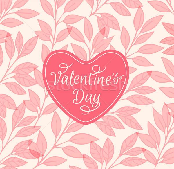 Rózsaszín virágmintás szív dekoratív valentin nap tavasz Stock fotó © Artspace