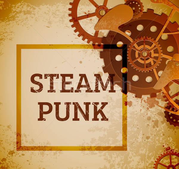 Steampunk sebességváltó absztrakt ipari stílus háttér Stock fotó © Artspace