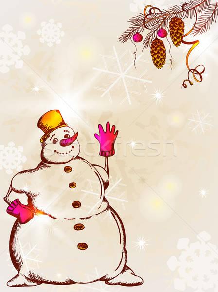 Retro karácsonyi üdvözlet vektor karácsony üdvözlőlap hóember Stock fotó © Artspace