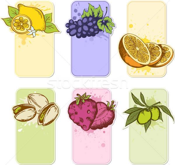 Stock fotó: Gyümölcs · címkék · szett · kézzel · rajzolt · vektor · háttér