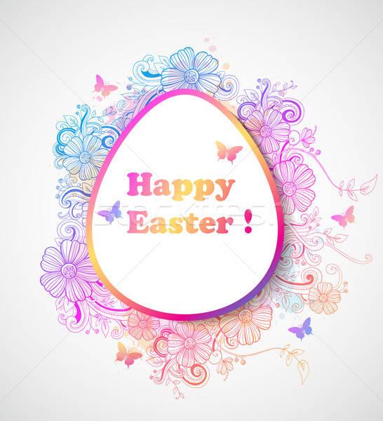 Húsvét virágok dekoratív vektor rózsaszín kék Stock fotó © Artspace