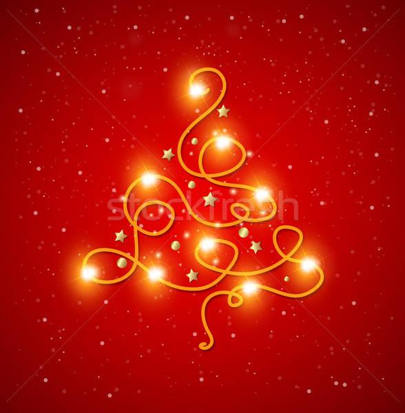 Foto stock: Resumen · brillante · árbol · de · navidad · rojo · luz · diseno