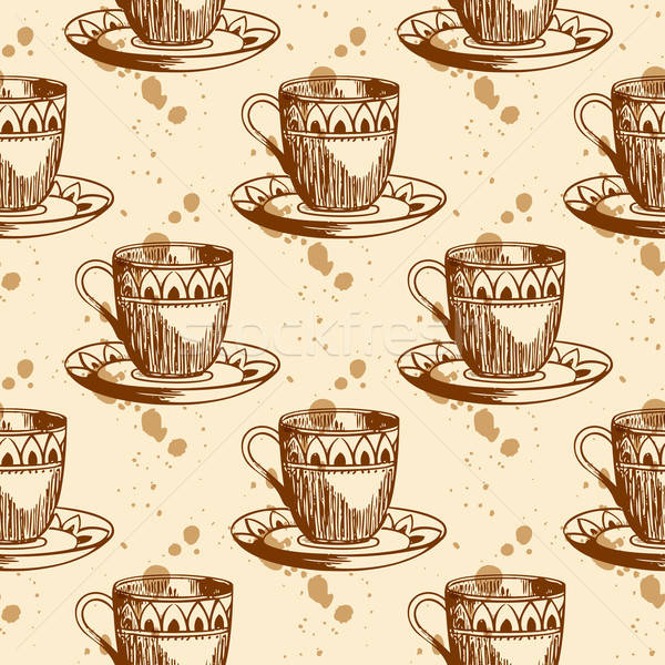 Seamless pattern with cup of coffee Stock photo © Artspace