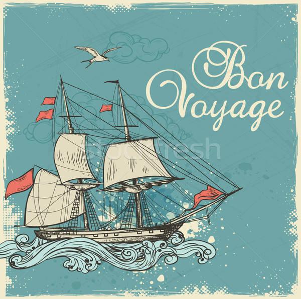 Vintage zeilschip Blauw reizen zee Stockfoto © Artspace
