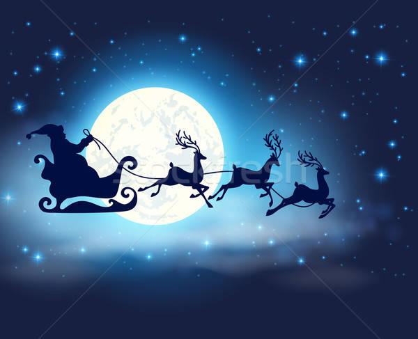 Santa Claus, deers and full Moon Stock photo © Artspace