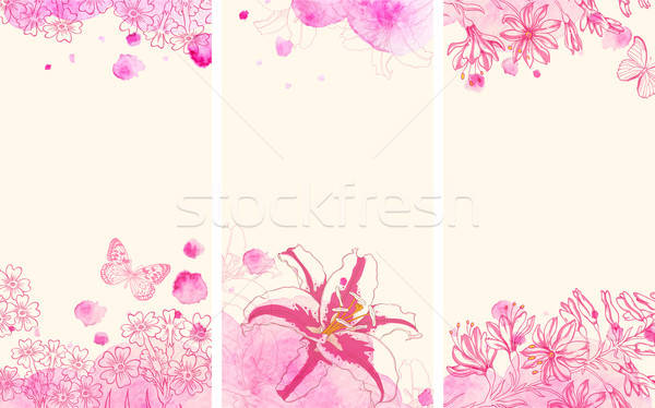 Stock photo: Vertical floral banners with flowers
