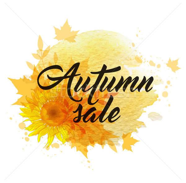 ősz vásár szalag absztrakt citromsárga napraforgók Stock fotó © Artspace