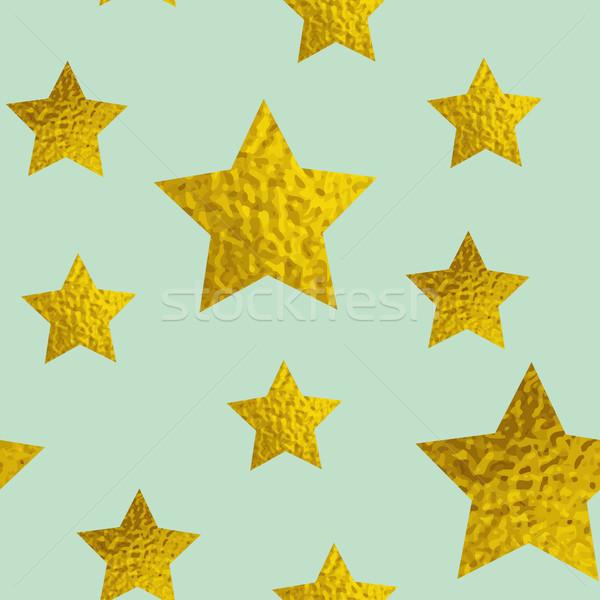 Arany csillámlás csillagok zöld absztrakt vektor Stock fotó © Artspace