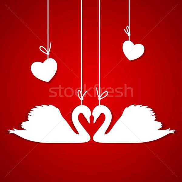 Rood twee witte harten papier ontwerp Stockfoto © Artspace