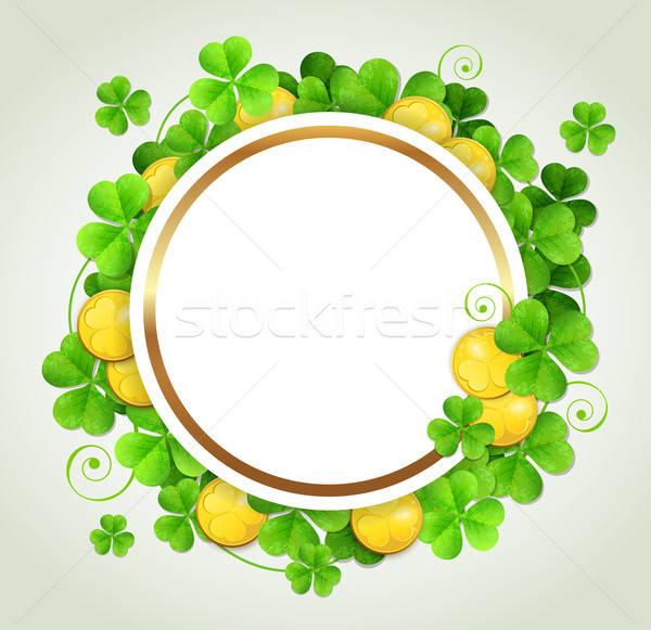 Trevo folhas dourado moedas dia de São Patricio bandeira Foto stock © Artspace