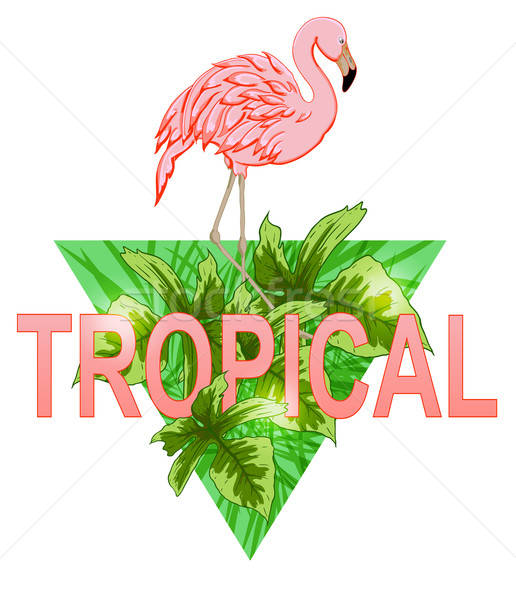 Flamingo and tropical leaves Stock photo © Artspace