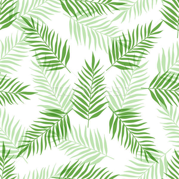 Stock photo: Seamless pattern with green palm leaves