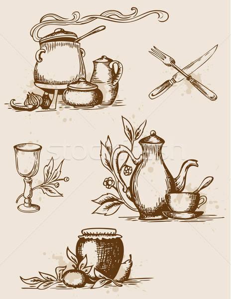 Antieke tafelgerei ingesteld vector vintage ontwerp Stockfoto © Artspace