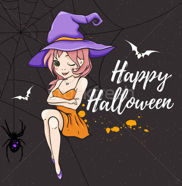Cute young witch in violet hat Stock photo © Artspace