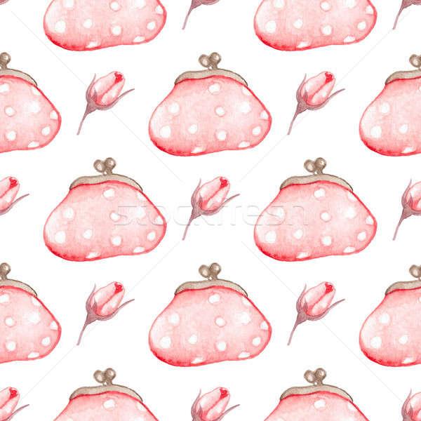 ハンドバッグ 手描き 水彩画 ピンク 白 ストックフォト © Artspace