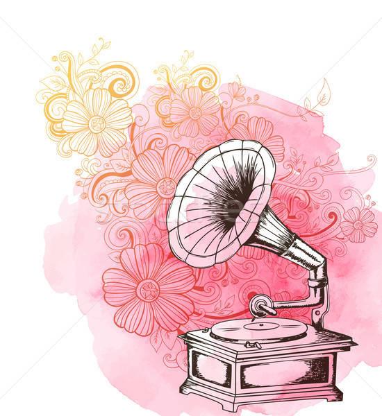 Muziek vintage grammofoon abstract bloemen roze Stockfoto © Artspace