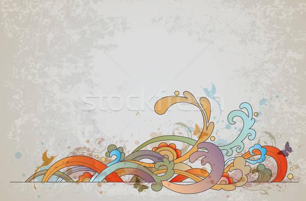 Rétro vecteur vagues floral ornement papillons Photo stock © Artspace