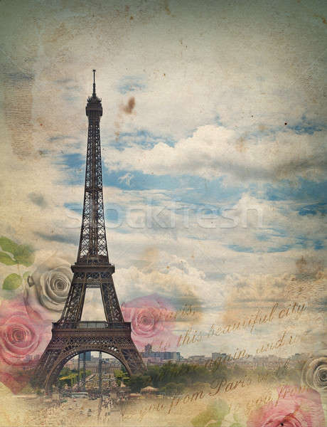 Old card with Paris Stock photo © Artspace