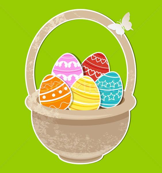 Húsvéti tojások kosár vektor zöld tavasz pillangó Stock fotó © Artspace
