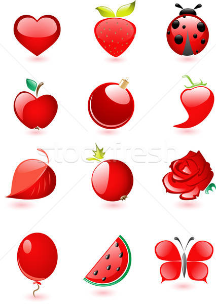 Collection of glossy red icons Stock photo © Artspace