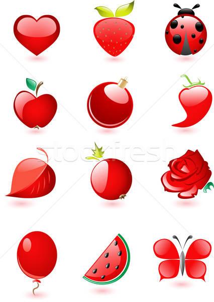 Ensemble rouge icônes chute ombre Photo stock © Artspace