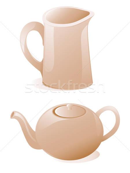 Teáskanna tejesflakon fehér étterem tea szolgáltatás Stock fotó © Artspace