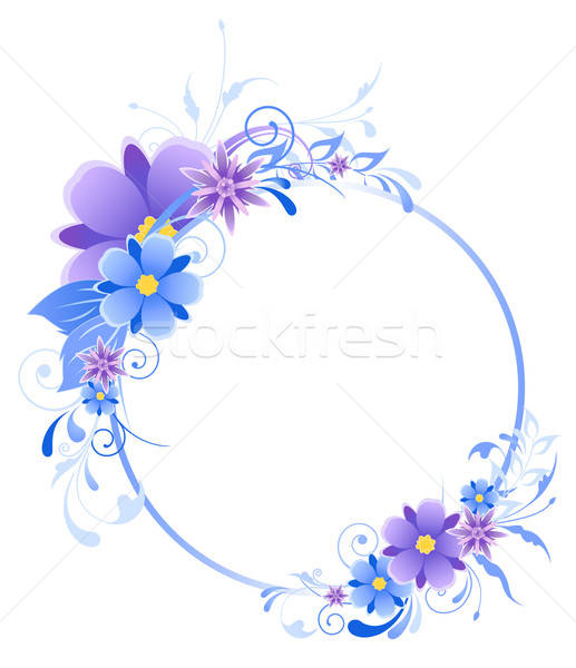 blue  banner with flowers, leaves  and ornament Stock photo © Artspace