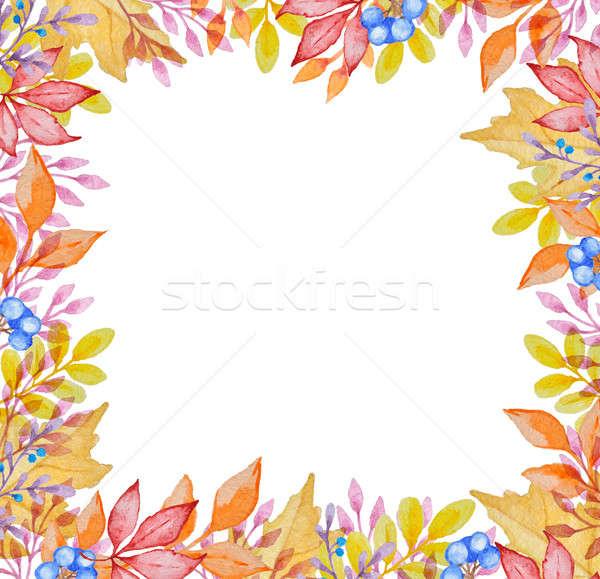 Aquarel frame Rood oranje witte Stockfoto © Artspace
