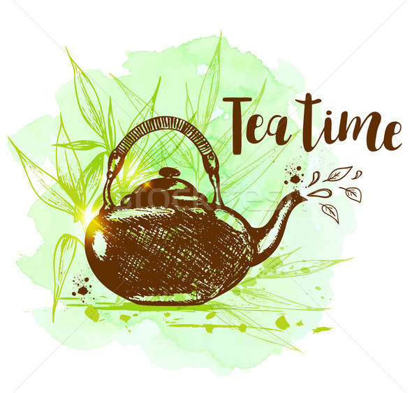 Teapot on a green watercolor background Stock photo © Artspace
